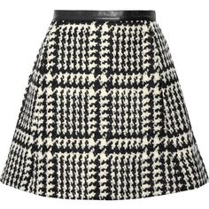 Jill Stuart Crystal leather-trimmed wool-blend bouclé-tweed mini skirt ($226) ❤ liked on Polyvore featuring skirts, mini skirts, bottoms, saias, faldas, black, jill stuart, tweed mini skirt, jill stuart skirt and mini skirt