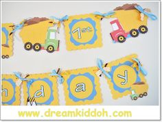DUMP TRUCK Theme little boys cute XL birthday party banner-customised