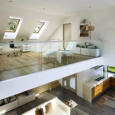 Zdjęcie projektu Z Widokiem WAW1066 Home Room Design, Loft Design, Modern House Design, Loft House, Sims House, House Rooms, Small Loft Apartments, Minimalist Home, Interior Design Living Room