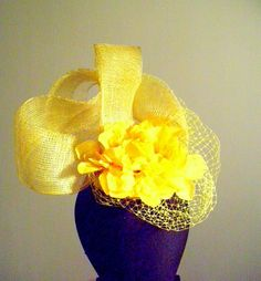 Lemon Sinamay and Flower Facinator with French by PapierMuse, $95.00