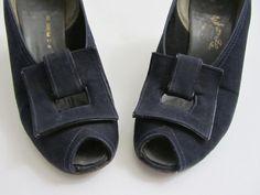 1930s Dress  1940s Dress Shoes  Peeptoe Heels in Navy Blue Faille - Size 6