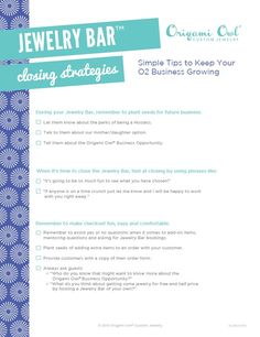 Jewelry Bar Closing Strategies.  | Origami Owl Independent Designer | Kayla Scully | Mentor ID: 14951 | http://kaylascully.origamiowl.com