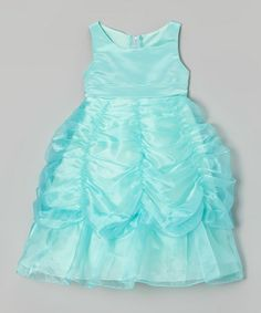 This Tiff Blue Ruched A-Line Dress - Girls by Princess Diaries is perfect! #zulilyfinds