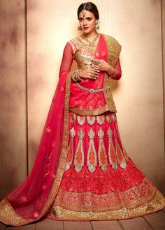 #Pink net #lehenga designed with applique, #stone, #sequins, zari, resham embroidery, #lace and patch border work.
