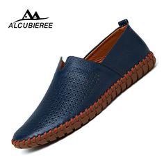 91ad1f6a5727 22.38 49% de DESCUENTO|Prelesty Tamaño Grande 38 50 Del Otoño Del Resorte  Hombres de la Marca de Lujo Zapatos de Conducción Transpirable Cuero  Genuino Pisos ...