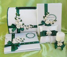 Купить Книга пожеланий и папка для свидетельства о браке - тёмно-зелёный, свадебные аксессуары, книга пожеланий
