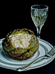 This I've Gotta try!!  Lulu's Sweet Secrets, Artichoke Risotto  (from the book Escoffianas Brasileiras, Alex Atala). Her photography of food is amazing!
