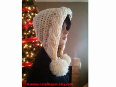 Crochet Best Patterns: SET of Bulky Cables Pom Pom Hood and Chevron Weave...