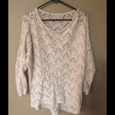 crocheted Kirra cream sweater Cream crocheted flowy sweater - works well in any season, and especially over a dress or leggings! Gently worn and impeccably laundered by myself. Kirra Sweaters Crew & Scoop Necks