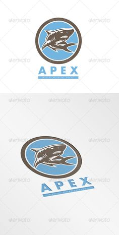 Apex Marine Wildlife Tours Logo. Logo showing illustration of a shark swimming set inside circle on isolated background done in re