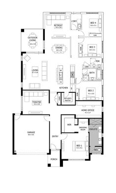 Boutique Homes - Riviera 33 front flip for the straight entry. 4 Bedroom House Plans, New House Plans, Dream House Plans, My Dream Home, Duplex Floor Plans, Home Design Floor Plans, House Floor Plans, Modern Kitchen Interiors, Budget Home Decorating