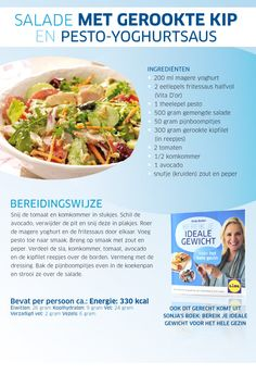 Salade met gerookte kip en pesto-yoghurtsaus (recipe is in Dutch)