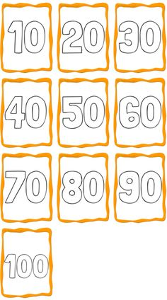 Numbers 10 to 100 - ESL Flashcards Free Printable Numbers, Free Printables, Printable Flashcards, Coloring For Kids, Free Coloring, English Primary School, Counting By 10, Color Flashcards, English Worksheets For Kids