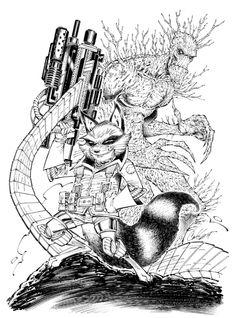 Rocket Raccoon and Groot by Cory Hamscher