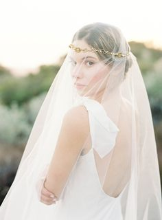 hushed commotion gold floral wreath with veil / image by jen huang
