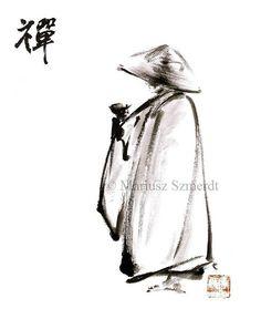 ZEN MONK Japanese art work ORIGINAL canvas painting by Asianature, zł250.00