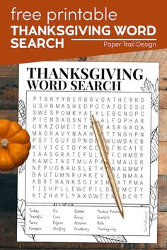 This Thanksgiving word search printable is great for students at school, kids at home, or a Thanksgiving activity page for kids at church. Thanksgiving Word Search, Thanksgiving Bingo, Thanksgiving Coloring Pages, Thanksgiving Activities For Kids, Activities To Do, Harvest Party, Paper Trail, Ways To Relax, Printable Paper