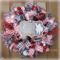 Hey, I found this really awesome Etsy listing at https://www.etsy.com/listing/259072428/christmas-mesh-wreath-christmas-santa