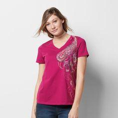 Women's Graphic V-Neck Tee, Size: Medium, Dark Pink