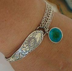1891 Turtle and Seashells Baltimore Art Nouveau Sterling Silver Spoon Enamel Button Bracelet sparkles