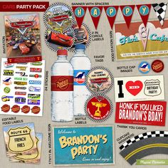 Let Lightning McQueen, Mater, Sally Carrera and the rest of the crew join your son's birthday with this customizable Disney Cars Printable Party Collection! THIS CARS PARTY PACK INCLUDES: Invitation (4x6 or 5x7 in. size) Cupcake Toppers Cupcake Wrappers Happy