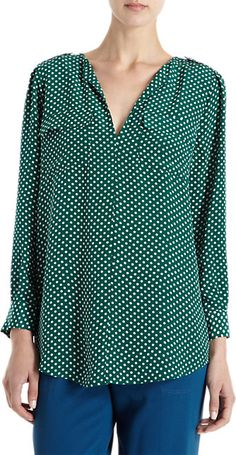 Joie Dotted Blouse - Blouses - Barneys.com Keep It Classy, Elegant, My Style, Long Sleeve, Sleeves, Beauty, Fashion, Blouses, Joy