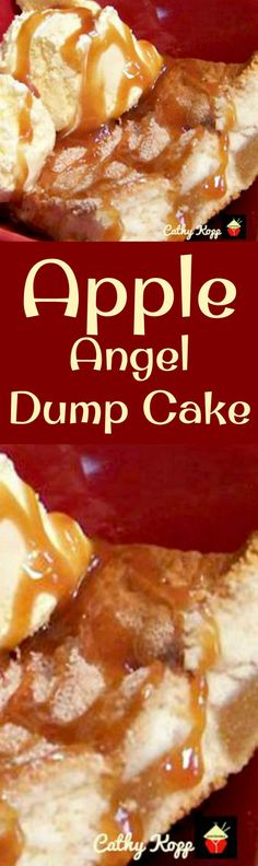 Easy Apple Angel Dump Cake, so delicious with a blob or two of ice cream! Oven or slow cooker, you choose! Easy Apple Angel Dump Cake, so delicious with a blob or two of ice cream! Oven or slow cooker, you choose! Apple Dump Cakes, Dump Cake Recipes, Dessert Recipes, Fruit Dessert, Apple Cake, Just Desserts, Delicious Desserts, Yummy Food, Apple Desserts