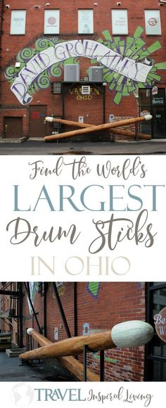 The World's Largest Drum Sticks can be found in an alley in Ohio named after David Grohle, drummer for Nirvana and the Foo Fighters. #RoadSideAttractions #Ohio
