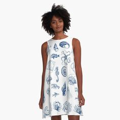 'Michigan Shirts Stickers Gifts' A-Line Dress by Aaron Geraud Turban, Line Flower, Flower Ball, Lavender Blue, I Dress, Chiffon Tops, Sleeveless Tops, Designer Dresses, Tie Dye