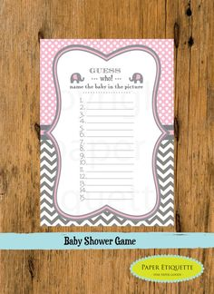 INSTANT UPLOAD - Baby Shower Game Chevron Pink and Gray (2 files) - Print Your Own