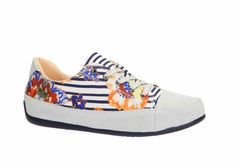 "Buy online Desigual Running Shoes ""Happy White sneakers in navy blue floral and stripe design. Stripes Design, White Sneakers, Running Shoes, Navy Blue, Floral, Happy, Stuff To Buy, Fashion, White Tennis Shoes"
