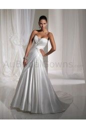 Satin Softly Curved Neckline Directionally Ruched Bodice A-line Wedding Dress