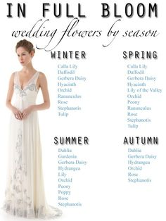 Seasonal Guide to Wedding Flowers - good to know!