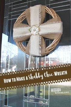 Learn how to make a wreath that will show off your shabby chic home decor style.  It looks just as good hanging on a front door as it does in a tabletop display. Easy instructions and inexpensive supplies. #shabbychic #homedecor #diywreath #wreath