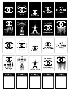 Chanel Printable Planner Stickers Black and White by ColorLab2016