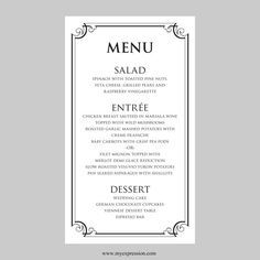 fine dining menu template free - menu templates free download word
