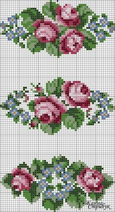 ideas for embroidery flowers border punto croce Cross Stitch Rose, Cross Stitch Borders, Cross Stitch Flowers, Cross Stitch Charts, Cross Stitch Designs, Cross Stitching, Cross Stitch Embroidery, Embroidery Patterns, Cross Stitch Patterns