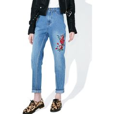 Mink Pink True Beauty Rose Scando Jeans ($108) ❤ liked on Polyvore featuring jeans, high rise straight leg jeans, vintage high waisted jeans, zipper jeans, blue jeans and straight leg jeans