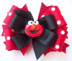 Hair Bow Red and Black Cutie Puppet - Baby, Girls, Toddler Boutique Hair Bows