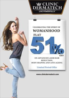 Clinic Dermatech is offering flat 51% off on laser hair removal, body shaping and skin care treatments. Get appointment to your nearby location for Permanent Hair Reduction in Delhi, body shaping, skin care, anti aging and hair care. http://www.clinicdermatech.com