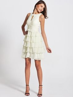 Ruffled Peep Neck Bridesmaid Dress | Plus sizes available! You can even custom dress color with them!