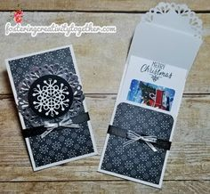Super Easy Gift Card Holders Card Making & Papercrafting ideas and video tutorials. Lisa Foster, Independent Stampin' Up! Christmas Paper Crafts, Christmas Cards, Christmas Projects, Gift Cards Money, Christmas Gift Card Holders, Gift Envelope, Fun Fold Cards, Card Envelopes, Money Envelopes