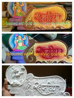 Clay Crafts, Diy And Crafts, Arts And Crafts, Clay Wall Art, Clay Art, Wooden Name Plates, Name Plate Design, Name Plates For Home, Clay Making