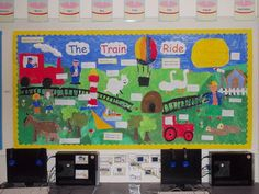 The Train Ride Display Eyfs Activities, Train Activities, Interactive Activities, Primary Classroom Displays, Year 1 Classroom, Class Displays, School Displays, Nursery Display Boards, Transport Topics