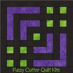 Carpenter's Square Easy Pre-Cut Quilt Kit Purple Green Black Fabrics