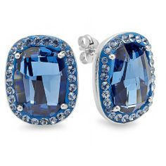Sterling Silver Stud Earrings with Montana Blue Swarovski Elements -