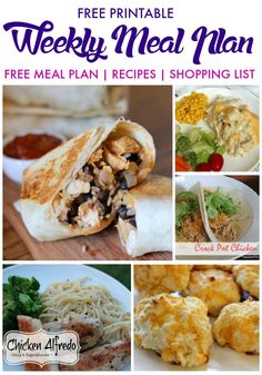 Weekly Meal Plan Free Printable with Free Family Meal Plans, Recipes, and Shopping List for Summer! Easy Recipe Ideas and Kid Friendly!
