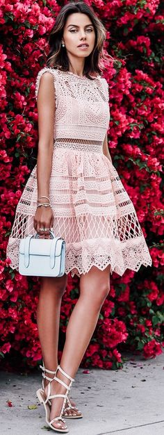 #StreetStyle ~ ALEXIS Sage crochet fit-and-flare dress| REBECCA MINKOFF Georgina studded sandals |