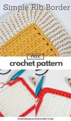 Learn to crochet this beautiful simple rib crochet border with the free crochet pattern and video tutorial. A perfect blanket border. #crochet #crochetborder Crochet Blanket Edging, Crochet Stitches For Blankets, Crochet Borders, Crochet Shawl, Crochet Patterns, Ribbed Crochet, Diy Crochet, Crochet Ideas, Yarn Projects
