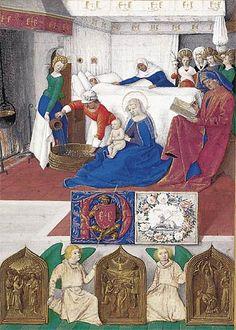 Fouquet.Heures d'Etienne Chevalier,Saint Jean-Baptiste,La naissance de saint Jean-Baptiste a lieu dans une chambre bien chauffée et reluisante de propreté.La Vierge tient le nouveau-né pendant qu'une servante prépare le bain.Le père,Zacharie,rendu muet par son manque de foi,écrit le nom de Jean sur un registre.Élisabeth est couchée dans un lit paré de blanc.La sage-femme ajuste le drap lorsque les sours d'Élisabeth arrivent. Les trois panneaux en bas représentent saint Jean interrogé par